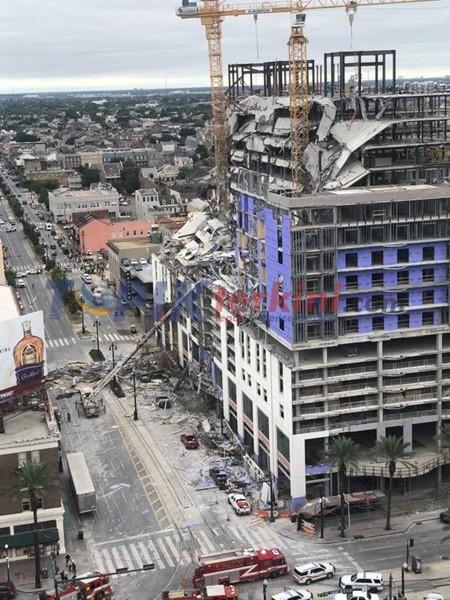Satu tewas saat hotel yang sedang dibangun runtuh di New Orleans