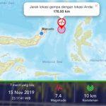 Potensi Tsunami,Gempa 7,4 M Guncang Sulawesi Utara
