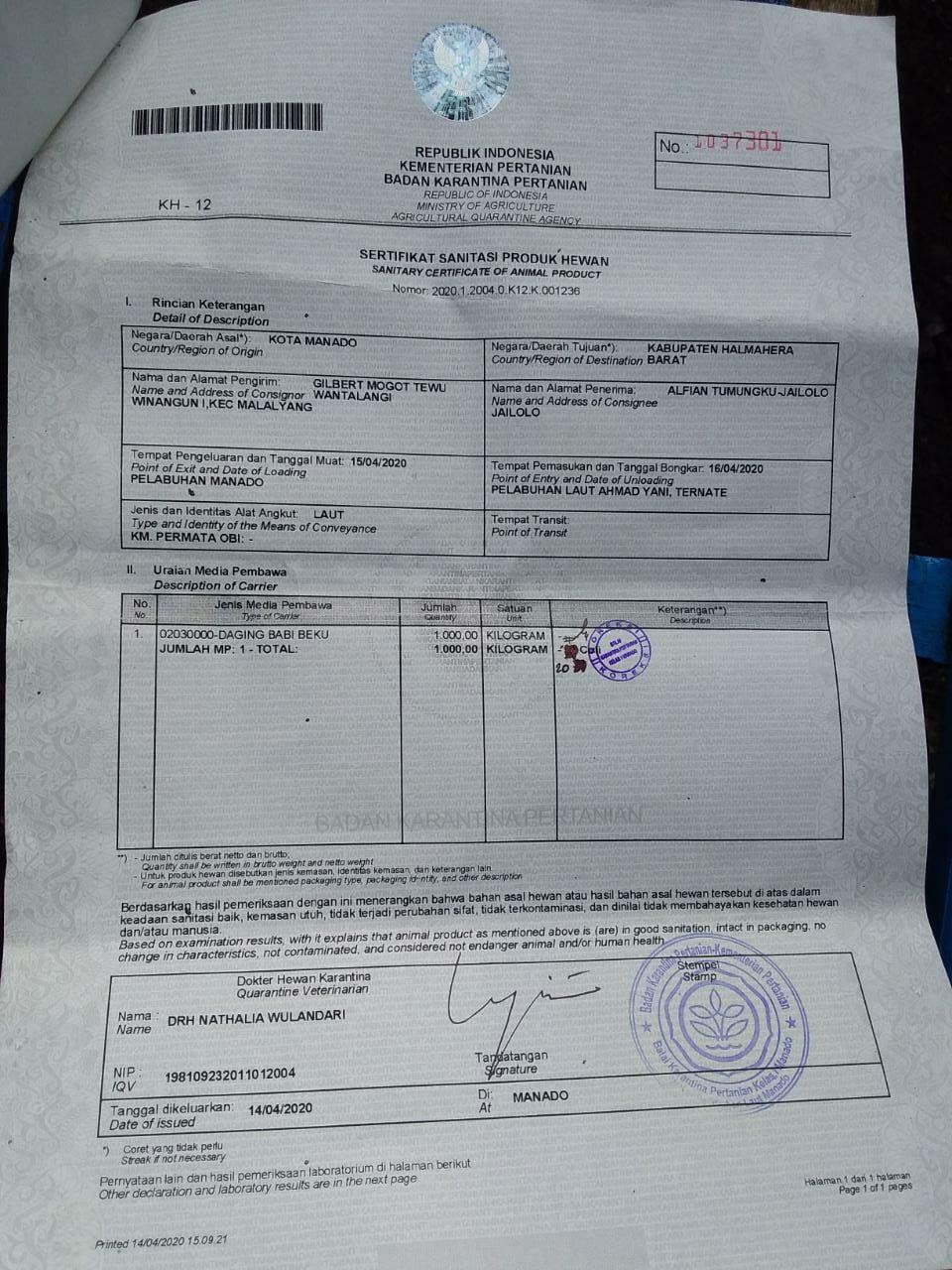 Tim Satgas Covid 19 Halteng Temukan 1 Ton Daging Babi di Posko Moreala