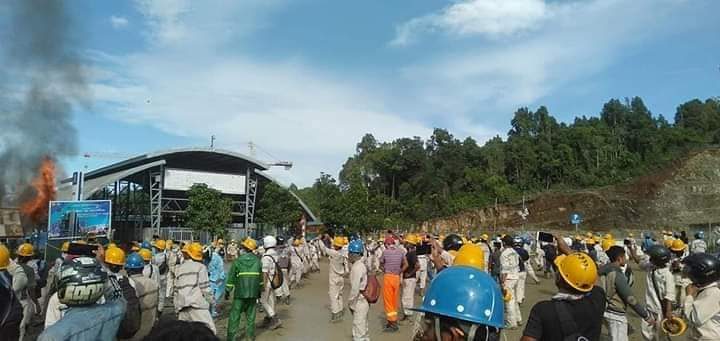 Ribuan Karyawan Peringati Hari Buruh di Site Tanjung Ulie Berakhir Pengrusakan Alat Berat
