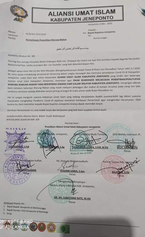 Dimediasi Polres Jeneponto, Aliansi Umat Islam dan Pemilik Warung Coto di pertemukan