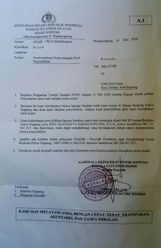 Polisi Sudah Terbitkan Sp2hp Soal Laporan Jufri Dugaan Pencemaran Nama Baik Topik Terkini
