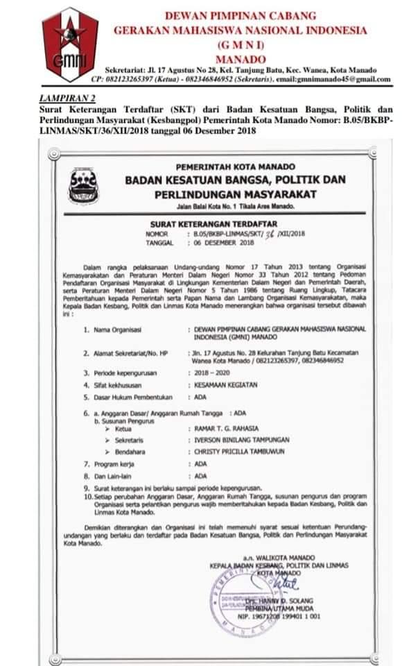Edarkan SK legalitas, DPC GMNI Manado dipimpin Ramar T.G Rahasia dan Iverson Binilang Tampungan