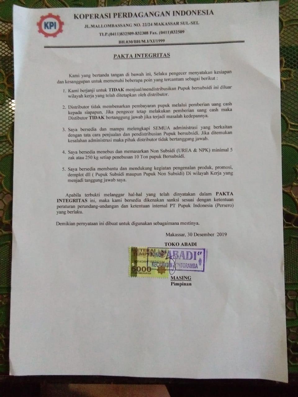Melanggar Fakta Integritas, Koperasi Perdagangan Indonesia Cabut Satu Pengecer Pupuk di kecamatan Bontoramba