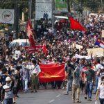 Puluhan ribu orang melakukan unjuk rasa menentang kudeta Myanmar
