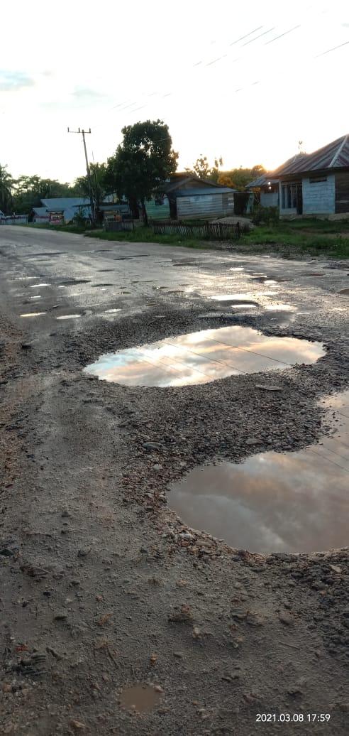Jalan Poros Andolo Kendari Rusak Parah, HIPMAPAL Desak Pemerintah Segerah Lakukan Perbaikan