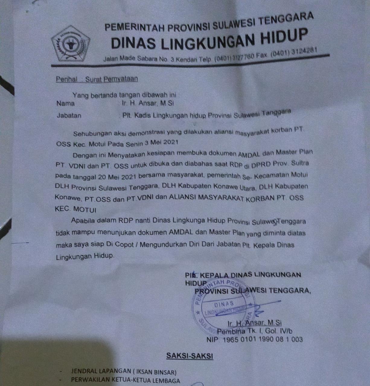Didesak Demonstran, Kadis Lingkungan Hidup Provinsi Sultra Siap mundur dari jabatan Jika tak mampu lakukan ini