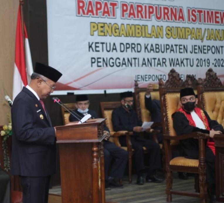 H. Arifuddin Resmi Gantikan Hj. Salmawati Paris Sebagai Ketua DPRD Jeneponto