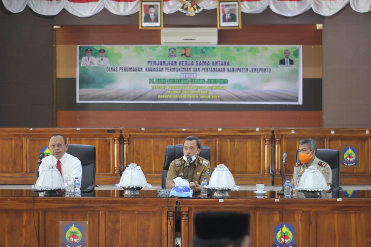Wakil Bupati Jeneponto Teken MoU Bantuan Stimulan Rumah Swadaya 2021