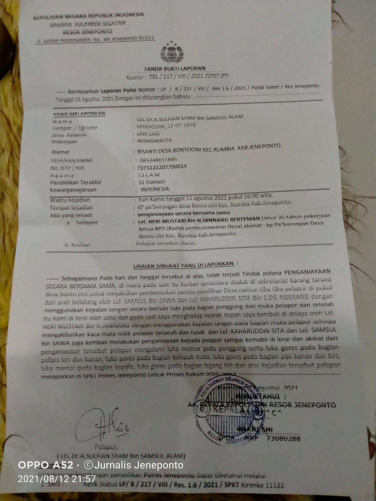 Diduga Lakukan Penganiayaan, Ketua BPD Desa Bontocini Rumbia Dilapor Polisi