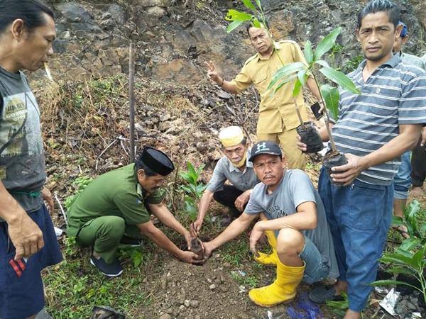 Kepala Desa Tanammawang Bersama Warganya Lakukan Penanaman Pohon
